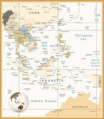 Obraz Jihovýchodní Asie podrobná mapa retro barvách