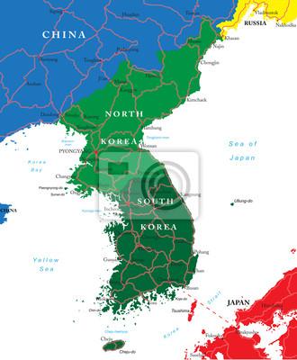 Jižní a Severní Korea mapa