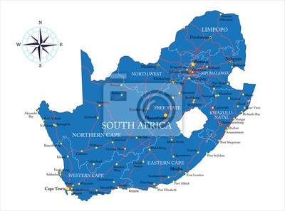 Jižní Afrika mapa