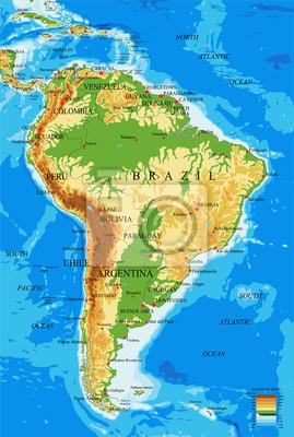 Jižní Amerika-fyzikální mapa