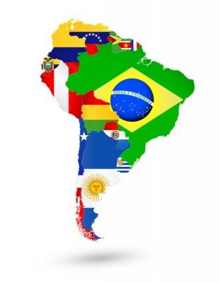 Obraz Jižní Amerika Mapa s vlajkami a umístěním na mapě světa