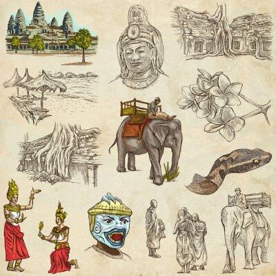 Obraz Kambodža - An kreslené ručně ilustrace. Frehand pack.