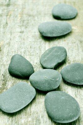Obraz kameny na starý dřevěný povrch