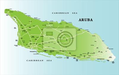 Karibský ostrov Aruba mapě
