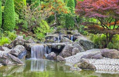 Obraz Kaskádový vodopád v japonské zahradě v Bonnu