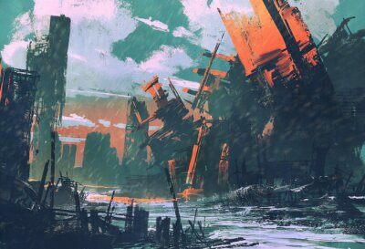 Obraz katastrofa město, apokalyptický scenérie, ilustrace malba