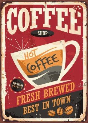 Obraz Kavárna retro plechových cedulí design s šálkem kávy na červeném pozadí