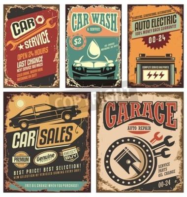 Obraz Klasické autoservisů kovové cedule a plakáty
