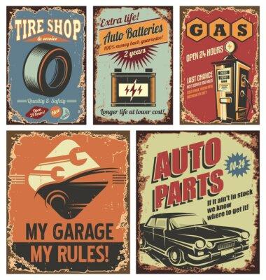 Obraz Klasické autoservisů plechové cedule a plakáty