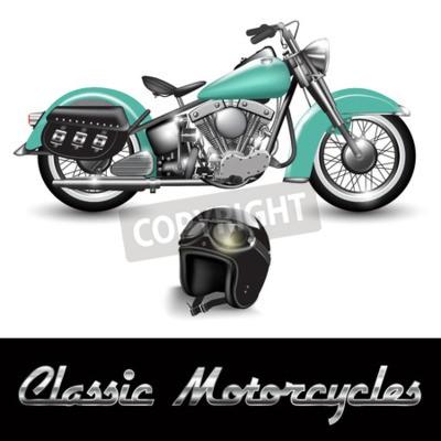 Obraz Klasický motocykl a přilba s brýlemi. vektorové ilustrace