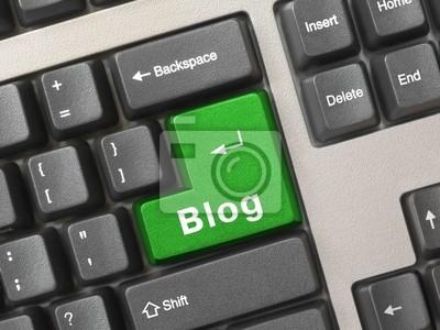 Klávesnice počítače s klíčem Blog, koncepce Internetu