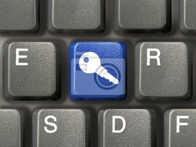 klávesnice s modrým bezpečnostní klíč