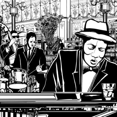 Obraz klavír-jazz band v restauraci
