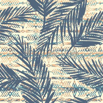 Obraz Kmenové etnické bezešvé vzor s palmovými listy. Vektorové pozadí