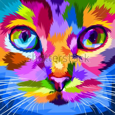 Obraz kočičí tvář v blízkosti barevných očí