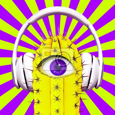 Koláž současného umění. Hipster Cactus Dj. Barevné hudební zábavné vibrace