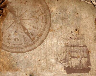 Obraz Kompas na starý papír