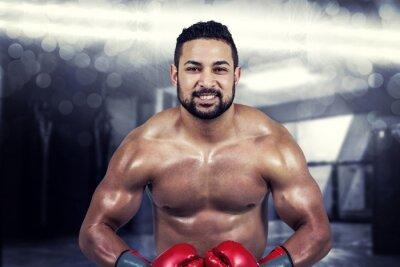 Obraz Kompozitní obraz svalové muž boxu v rukavicích