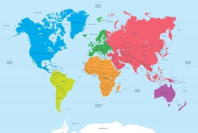 Obraz Kontinentech světa a politické mapy