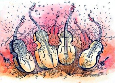 Obraz kontrabas hudba