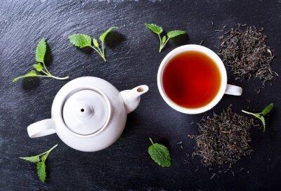 Obraz Konvice a šálek čaje s mátou