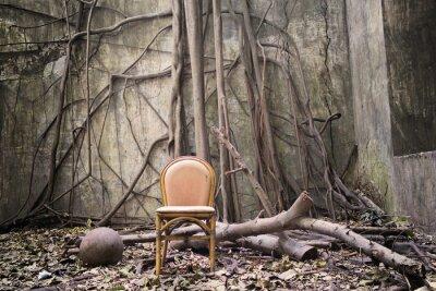 Obraz Kořeny, staré židle a zničil zeď