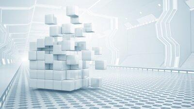 Obraz Kostka ve virtuální místnosti