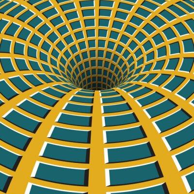 Obraz Kostkovaný trychtýř. Rotující díru. Motley pohybující se na pozadí. Optický klam ilustrační.