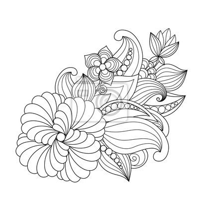 Kouzelne Kreslene Kvetiny A Rostliny Pro Dekoraci Obrazy Na Stenu