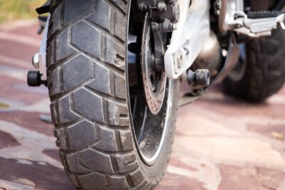 Obraz kovové části na motocyklu