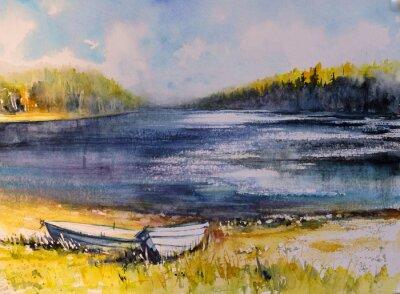 Obraz Krajina s rybářskými čluny na pobřeží jezera. Obrázek vytvořený pomocí akvarelu.