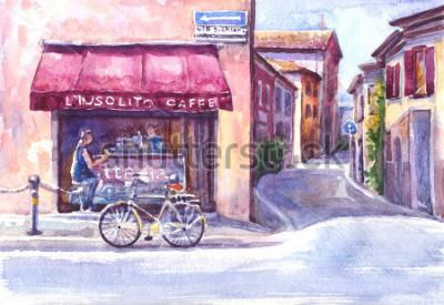 Obraz Krajina. Ulice ve starém městě. Itálie. Akvarel skica.