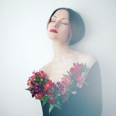 Obraz Krásná dáma s květinami