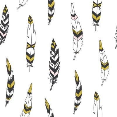 Obraz Krásná indická bezešvé vzor s peřím v vektoru.