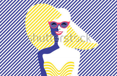 Obraz Krásná mladá žena s slunečními brýlemi a kloboukem, retro stylu. Populární umění. Letní dovolená. Vektor eps10 ilustrace