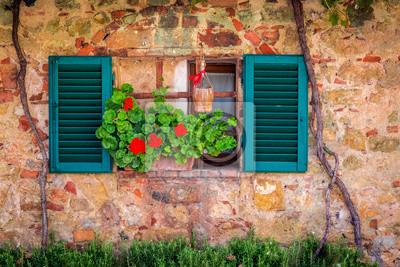 Krásná okno zdobí květinami v Itálii