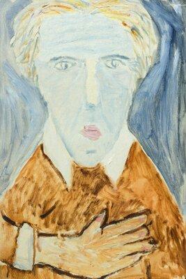 Obraz Krásná Originální olejomalba s portrétem muže v oranžové a šedé barvy na plátně