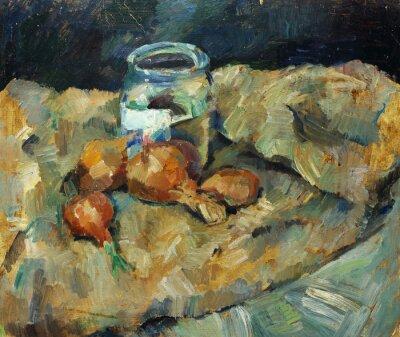 Obraz Krásná Původní olejomalba zátiší ..pot žárovka na tkaninách na plátně v žluté a modré barvy ve stylu impresionismu