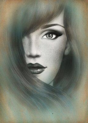Obraz Krásná tvář. žena, portrét. abstraktní akvarel pozadí .fashion