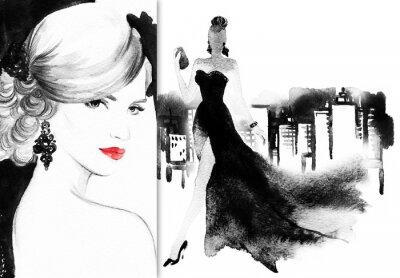 Obraz Krásná tvář. žena s elegantní šaty. abstraktní akvarel pozadí .fashion