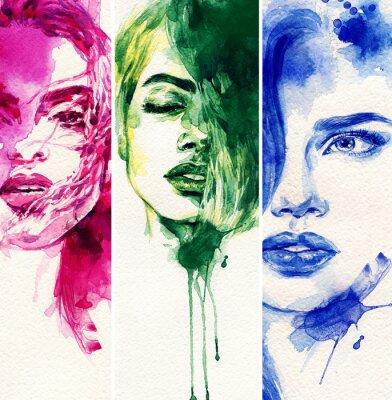 Obraz Krásná žena. akvarel ilustrace