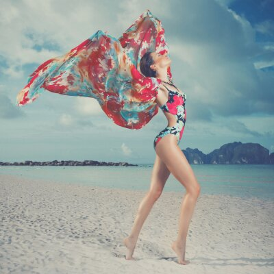 Obraz Krásná žena, na pláži