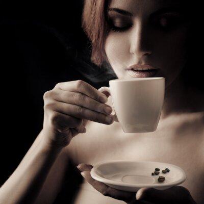 Obraz Krásná žena, pití kávy. Prostor pro text