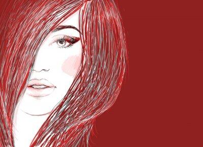 Obraz Krásná žena portrét. Ručně malované módní ilustrační