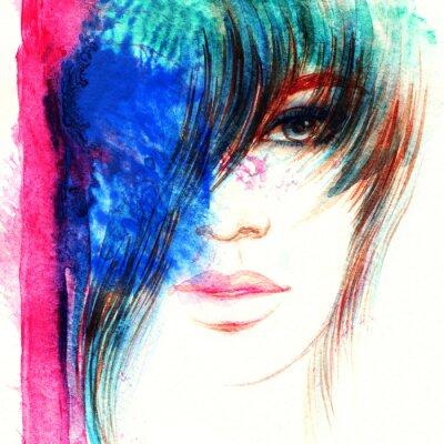 Obraz Krásná žena tvář. Abstraktní módní akvarel ilustrační