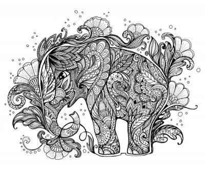 Obraz Krásné ručně malované slon s květinovým ornamentem