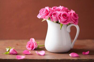 Obraz krásné růžové růže kytice ve váze