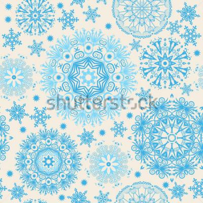 Obraz Krásné sněhové vločky. Abstraktní pozadí s trendovými prvky. Model vektoru pro webdesign, textilní, grafický design.