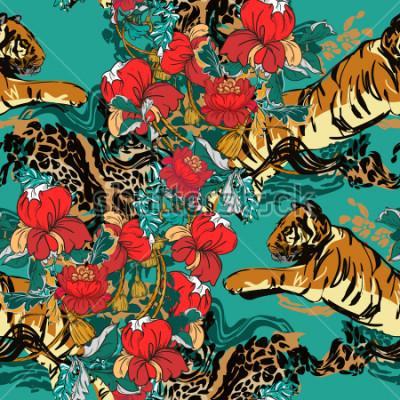 Obraz Krásný abstraktní tygr s červenými květy a trendovým vzorem hladce. Designová tkanina.