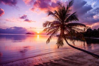 Obraz Krásný jasný západ slunce na pláži tropického ráje